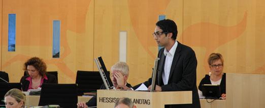 Daniel Mack bei seiner ersten Rede im Hessischen Landtag