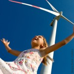 Umweltpolitik, Erneuerbare Energien, Windkraft, Kind, Mädchen, Natur