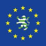 Europafahne mit grünem Hessenlöwe