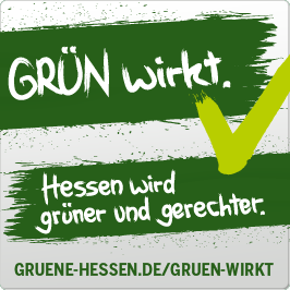 Banner: GRÜN wirkt. Hessen wird grüner und gerechter
