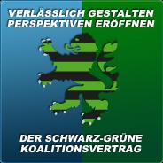 Banner: Verlässlich gestalten - Perspektiven eröffnen. Der schwarz-grüne Koalitionsvertrag.