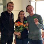 Landesvorsitzender Philip Krämer mit Anja und Thomas Rehbein