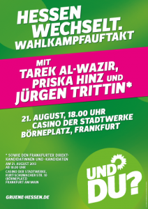 "Hinweisplakat: ""Hessen Wechselt. Wahlkampfauftakt"""