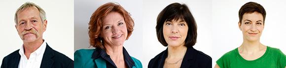 Die vier KandidatInnen im Bild, von links: José Bové, Monica Frassoni, Rebecca Harms und Ska Keller