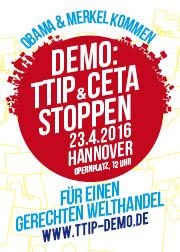 Banner TTIP-Demo in Hannover