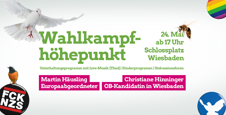 Ankündigung Wahlkampfhöhepunkt Europawahl am 24. Mai in Wiesbaden